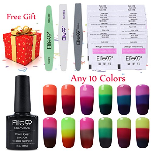 Elite99 Temperature Color Changing 3 Colour Showed UV LED Soak Off Any 10 Colors Gel Polish + 30pcs Free Remover Pads + Sanding File + Buffer + Polisher
