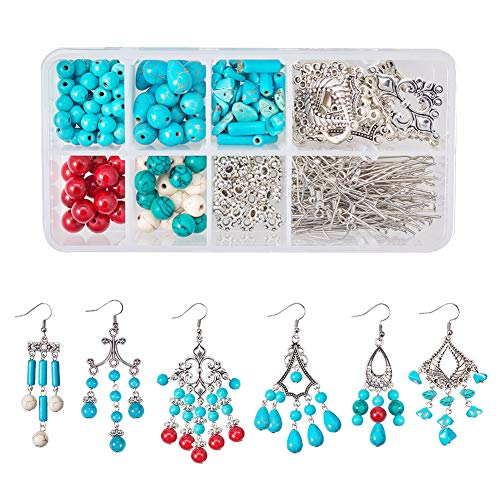 SUNNYCLUE 1 Box DIY Make 6 Pair Turquoise Chandelier Earring Making Starter Kits Bohemian Boho Jewelry Making Supplies Sets, Silver