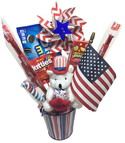 Patriotic Fun Candy Bouquet Gift Basket ~ Decorated with Assorted Treats & Favors (Gift Bouquets)