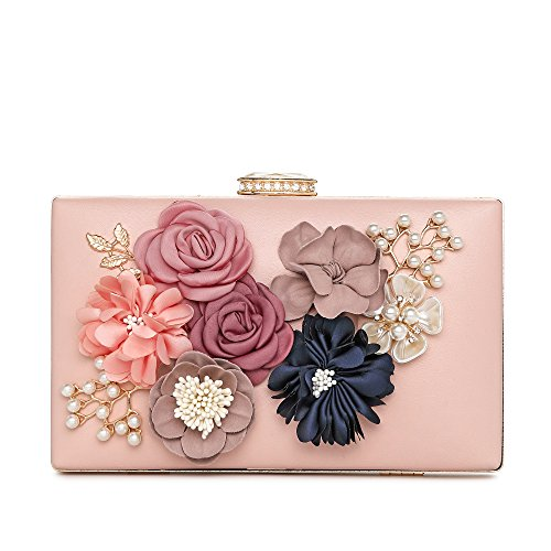 Bag Beaded Leather Shoulder (Women's Flower Clutches Evening Bags Pearl Beaded Evening Handbag Purses For Prom Bride Wedding)