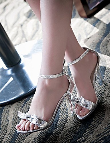 LFNLYX Zapatos de mujer-Tacón Stiletto-Tacones-Sandalias-Boda / Vestido / Casual / Fiesta y Noche-Materiales Personalizados-Negro / Plata / Oro Black