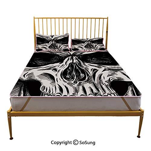 Halloween Creative Full Size Summer Cool Mat,Gothic Dead Skull Face Close Up Sketch Evil Anatomy Skeleton Artsy Illustration Decorative Sleeping & Play Cool Mat,Black White