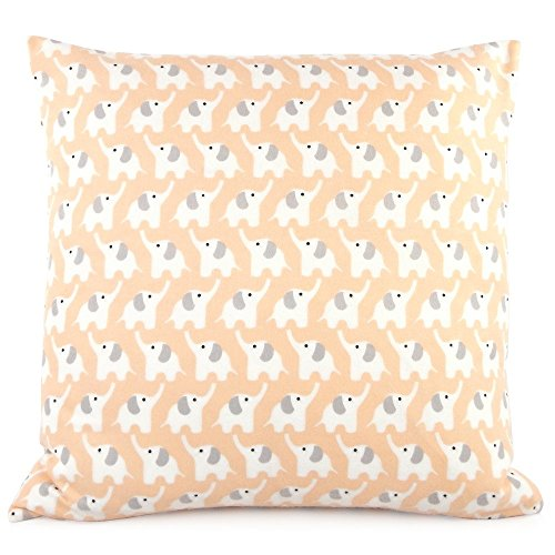 "Dancing Elephants / Polka Dot Decorative Flannel Handmade Pillow Cover, 18x18"", Peach & Grey, Chloe & Olive"
