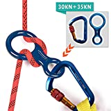 Climbing Locking Carabiners + Figure 8 Descender, AYAMAYA 30kn Screwgate Locking Caribeaner Rock Climbing High Strength D Shape Screw Lock Caribiners & 35kn Rescue 8 Descender Rappel Rigging Plate