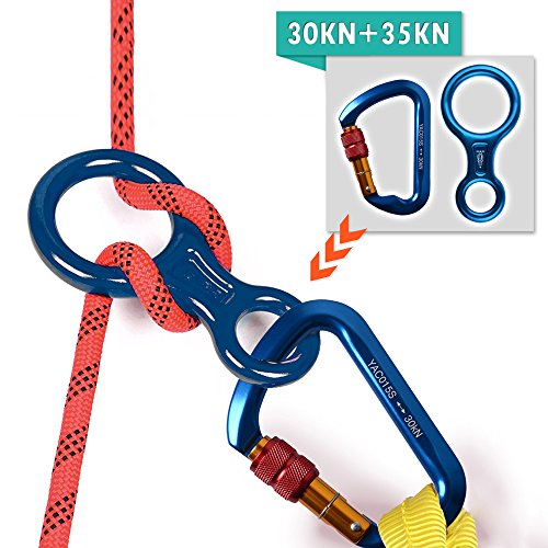 Climbing Locking Carabiners + Figure 8 Descender, AYAMAYA 30kn Screwgate Locking Caribeaner Rock Climbing High Strength D Shape Screw Lock Caribiners & 35kn Rescue 8 Descender Rappel Rigging Plate (Carabiner Anodized Screwgate)