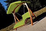 Design Hollywood Swing Garden Swing Hollywood deck double deck wooden larch with roof model:'ARUBA-GREEN' AS-S