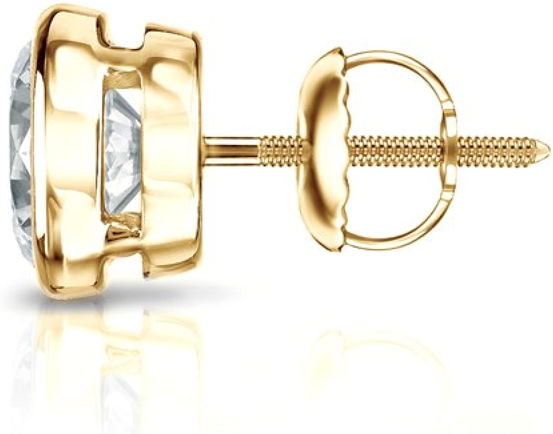 0.08cttw, O.White, I1-I2 Bezel Set Diamond Wish 18k Gold Round SINGLE Diamond Stud Earring Screw-Back