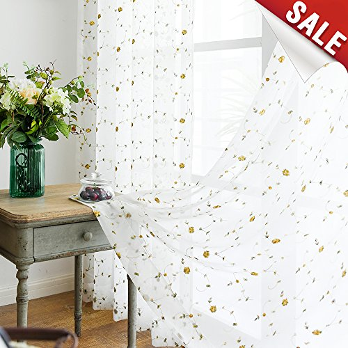 "jinchan Sheer Curtains for Living Room White 95"" Embroidered for sale  Delivered anywhere in USA"