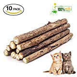 Cat Catnip Stick,Matatabi Silvervine Dental Treats Natural Wood Chew Toy Cat Teeth Cleaning Grinding Molar Sticks for Cat Kitten Kitty Play and Relax-10pcs