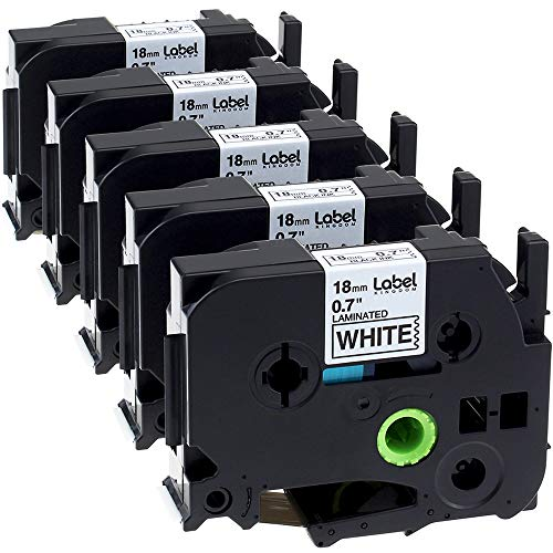Label KINGDOM Label Tape Compatible for Brother P-touch Label Maker, 3/4 Inch Standard Laminated, 26.2 Feet, Black on White, 5 Pack (TZe241 TZ241)