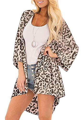 casuress Women's Cardigan-Sheer Kimono Loose Summer Floral Print Cover Ups (Large, Leopard 2)