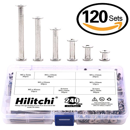 Binding Post Screw (Hilitchi 120-Sets M5 x 5 / 10 / 15 / 25 / 35 / 45 Phillips Chicago Screw Posts Binding Screws Assortment Kit for Scrapbook Photo Albums Binding, Leather Repair)