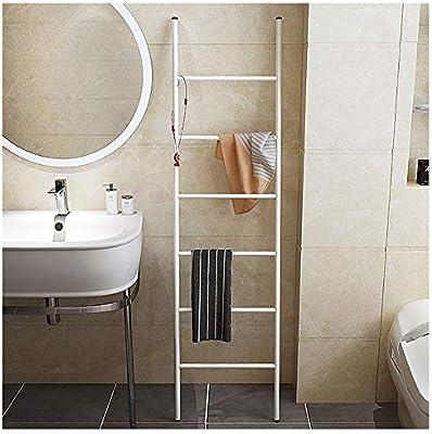 Toallero Negro de Pie Metal Escalera Decorativa Baño Pequeña con 6 Peldaños Colgador Toalla Baño sin Agujeros Ligero 5.5ft tallwhite: Amazon.es: Hogar