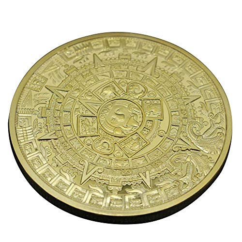 - andy cool 1X Gold Silver Plated Aztec Mayan Calendar Commemorative Coin Souvenir Collection Gift Useful and Practical
