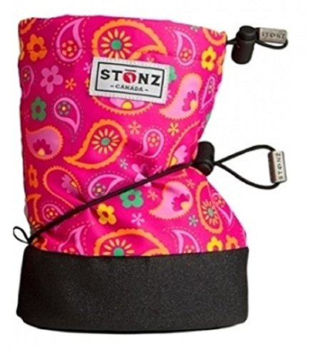 Image of the Stonz Three Season Stay-On Baby Booties, for Bare Feet Or Shoes, for Mild Or Cold Snow Weather, Paisley Pink - Fuchsia Large