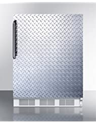 Summit FF67DPLADA Refrigerator, Silver With Diamond Plate