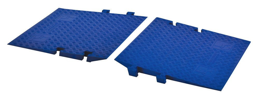 Cross-Guard CPRP-1X225-BLU Polyurethane ADA Compliant Ramp for Linebacker GP 1 Channel Heavy Duty Cable Protectors, Blue , 36'' Length, 34.81'' Width, 2.88'' Height (Pair) by Checkers Industrial Safety Products (Image #1)