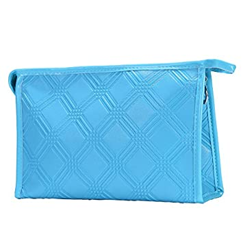 Amazon.com   Clutch Makeup Bag Handbags Environmental PU Handy Cosmetic Bag  Pouch Toiletry Bag (Aqua blue)   Beauty 2bb96f24a5