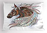 Lunarable Horse Pillow Sham by, African Indigenous Totem Animal Theme Modern Art with Colorful Tribal Arrow Motifs, Decorative Standard Queen Size Printed Pillowcase, 30 X 20 Inches, Multicolor