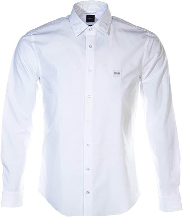 eaa9b67ae6 Amazon.com  Hugo Boss Mens Casual Shirt My POP-50393092 Size M White ...