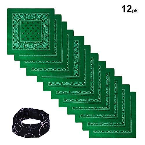 Basico 100% Cotton Head Wrap Bandana 12 PackVarious Colors (Dark Green) -