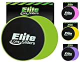 Elite Core Exercise Sliders - 4 Bright Colors - 2 Dual Sided Gliding Discs for Carpet and Hard Floors.