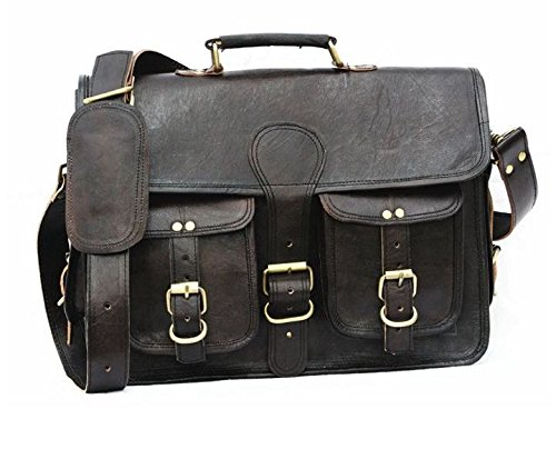 Leather Genuine Men's Auth Real Leather Messenger Laptop Briefcase Satchel Mens Bag (BLACK)