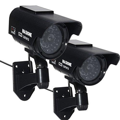 2xAttrappe-Kamera Dummy Camera Solarbetrieben Überwachungskamera Mit Nachsicht Fake Sicherheitskamera Für Indoor & Outdoor