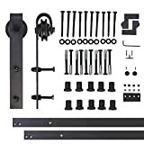 Vancleef 12FT Single Door Kit Sliding Barn Door Hardware, Classic Design, Industrial Strength, Black Rustic, Interior and Exterior Use, With Quiet Glide Roller and Descriptive Installation Manual
