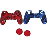 Magicdeal Silicone Protective Skin Case Cover + Joystick Cap for Sony PS4 Controller