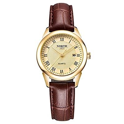 Womens Leather Watch,Fashion Casual Gold Watches for Women,Waterproof Quartz Ladies Brown Wrist Watch …