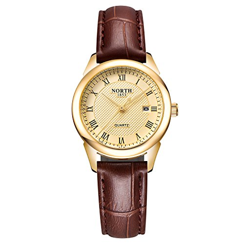 Womens Leather Watch,Fashion Casual Gold Watches for Women,Waterproof Quartz Ladies Brown Wrist Watch