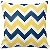 KarilShop Navy Blue and Yellow white Linen Throw Pillow Case Cushion Cover Home Sofa Decorative 18 X 18 Inch.