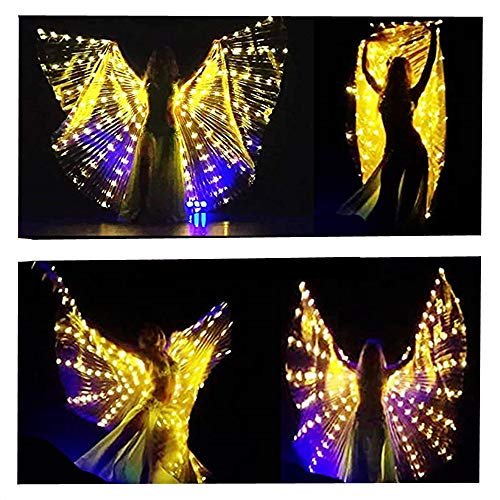LED Isis Wings Glow Light Up Belly Dance Costumes with Sticks Performance Clothing Carnival Halloween Gold -