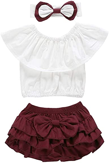 Hairband Outfit Toddler Baby Girl Clothes Set Off Shoulder Top T-Shirt+Shorts Pants