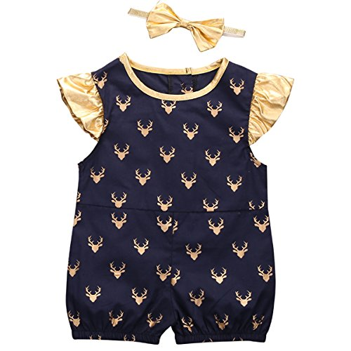 2 Style Deer Dot Romper Jersey Short Sleeve Ruffle Outfit+Bowknot Headband for Baby Boy Girl (12-18 Months, Round-neck)