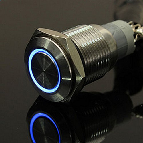 Interruptor de botón de ojo de ángel de 12 V 16 mm, metal iluminado LED halo anillo pulsador interruptor de apagado del...