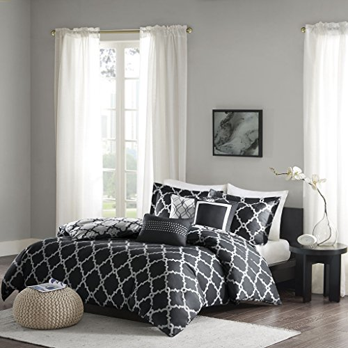 Merritt 6 Piece Reversible Duvet Cover Set Black - Duvet Set 6 Piece