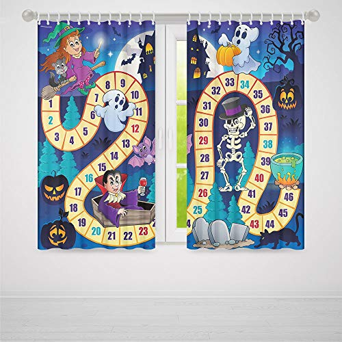 (YOLIYANA Board Game Windows Blackout Curtain,Halloween Theme Symbols Happy Witch Girl Vampire Ghost Pumpkins Happy Comic,Living Room Bedroom Curtain, 2 Panel Set,37W X 51L)