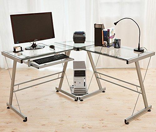 Mesa Ordenador Cristal PC Escritorio esquina Oficina Mesa Cristal ...