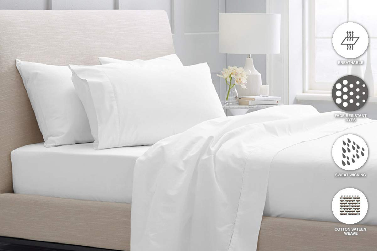 Luxurious 800 Thread Count Cotton Queen Sheets Set White, 100% Long Staple Cotton Smooth Sateen Bed Sheets, High Thread Count Sheets fit Upto 17'' Deep Pockets (White Queen 100% Cotton Sheet Sets) by Pizuna (Image #3)