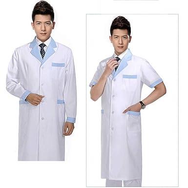ESENHUANG Abrigo Blanco Hombres Abrigo De Laboratorio Blanco Médico Enfermera Doctor Uniforme De Solapa Cuello Manga Larga Y Mangas Cortas Médicos ...