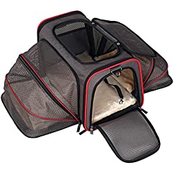 Pet Travel Carrier Crate 19-Inch (48 cm) Pet Travel Bag Foldable Oxford Cloth Portable Comfort Pet Bag Lightweight Fabric Pet for Dogs Cat Crate , L , 3