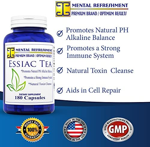 Mental Refreshment Essiac Tea 900 mg, 180 Capsules 1 Bottle