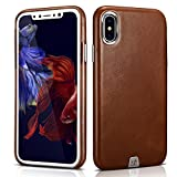 iPhone X Genuine Leather Case Aroko Ultra Thin Real Genuine Leather Protective iPhone X Case Cover for iPhone X 5.8inch (Brown)