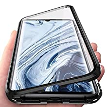 JoiCase Funda para Xiaomi Mi Note 10 Note 10 Pro Adsorcion Magnetica Carcasa 360 Grado Protección Estuche Marco Aluminio Vidrio Templado Anti Choque Metal Flip Cover
