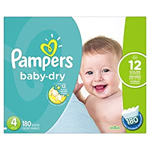 Pampers Baby-Dry Disposable Diapers Size 4, 180 Count, ECONOMY PACK PLUS