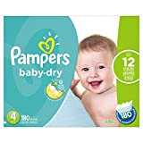 Baby : Pampers Baby Dry Diapers Size 4, 180 Count (Packaging May Vary)