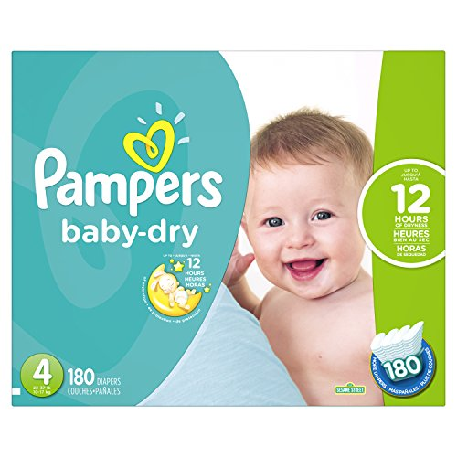 Pampers Baby Dry Diapers Size 4, 180 Count (Packaging May Vary) by Pampers