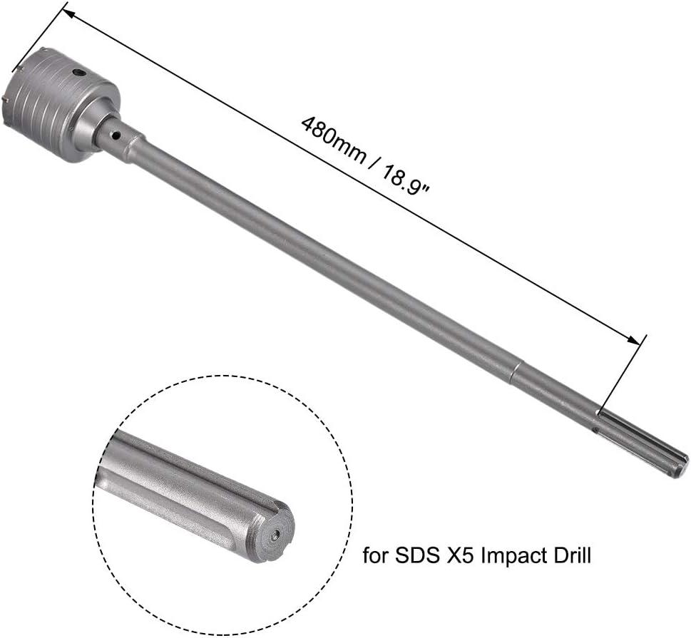 sourcing map Mur Trou Foret Foret B/éton Trou Scie Fraise avec Raccordement Tige Foret pour SDS X5 Impact Foret Jeu de Forets 55mm